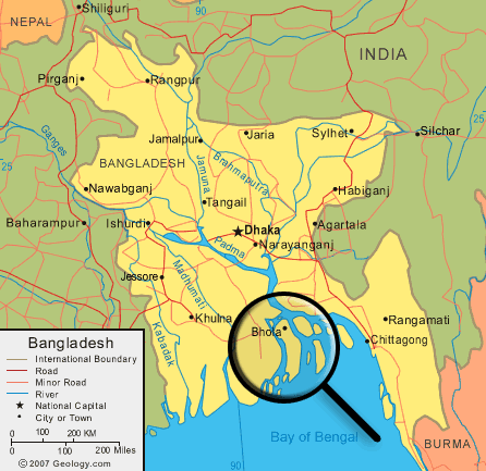 Map of Bhola Island Bangladesh